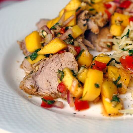 Lime Cumin Pork with Mango Salsa