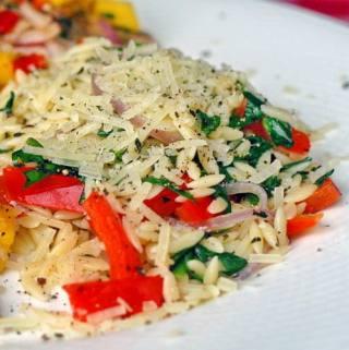 Spinach Orzo Primavera – a very versatile side dish.