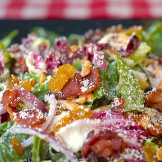 Caesar Dressing on Radicchio Almond Caesar Salad