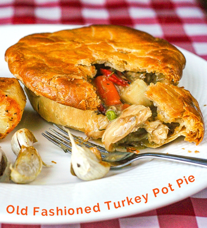 Turkey Pot Pie photo with title Text for Pinterest