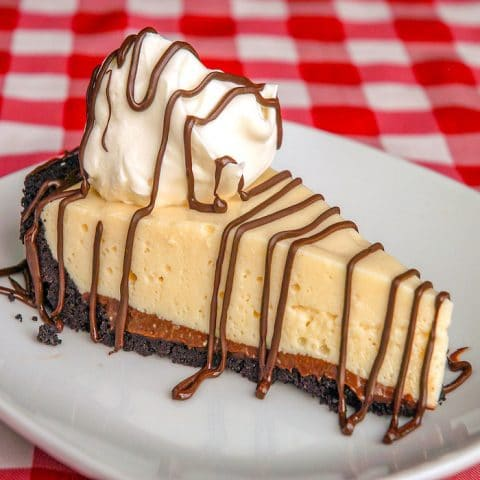 Black Bottom Pie photo of a single slice on a white plate
