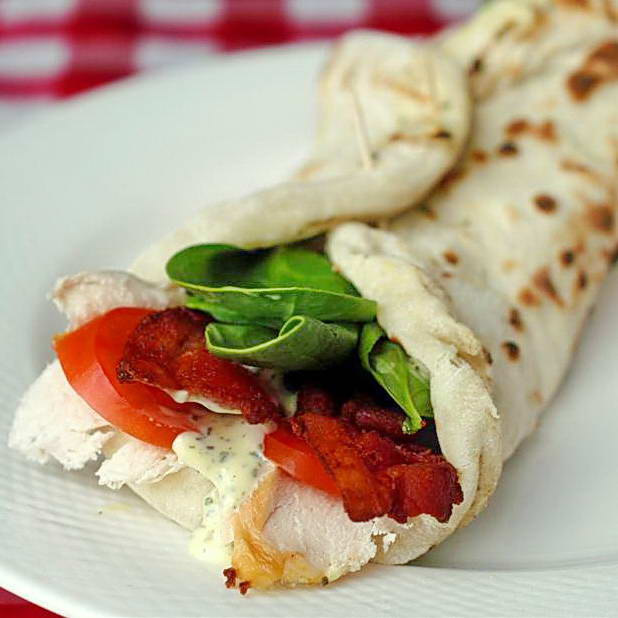 Turkey Club Wrap on BBQ Flatbread with Lemon Savoury Mayonnaise