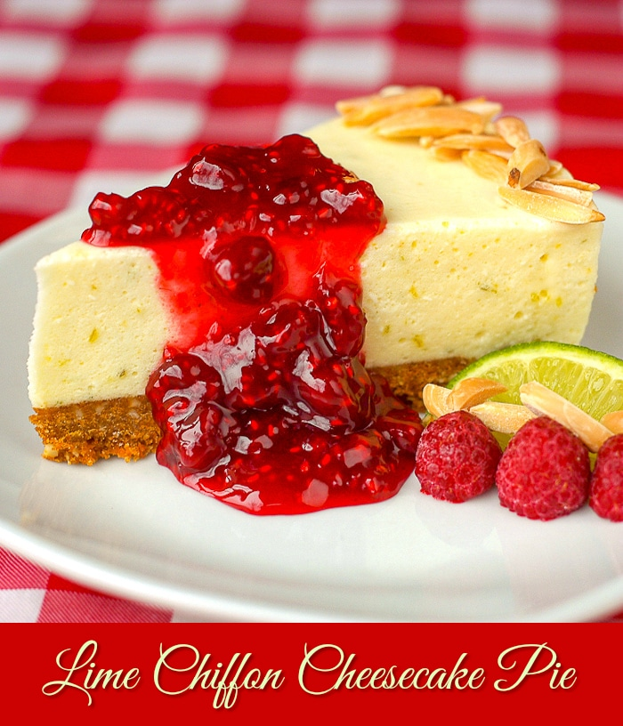 Lime Cheesecake Chiffon Pie with Raspberry Compote photo with title text added for Pinterest