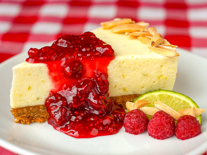 Lime Cheesecake Chiffon Pie photo of a single slice on a white plate