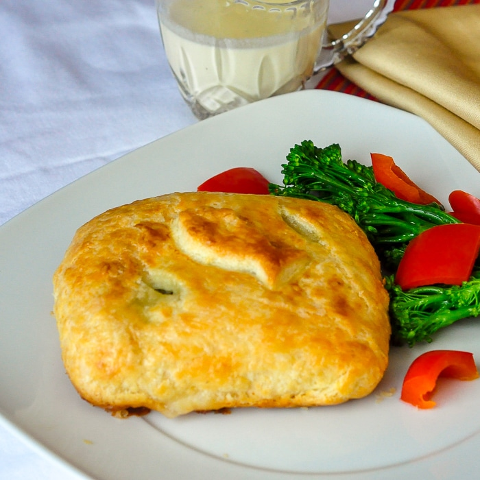 Salmon in pastry with fish pastry cutout on top