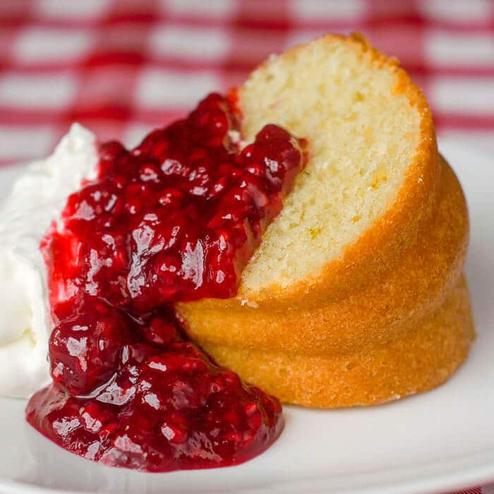 Lime Bundt Cake with raspberry compote