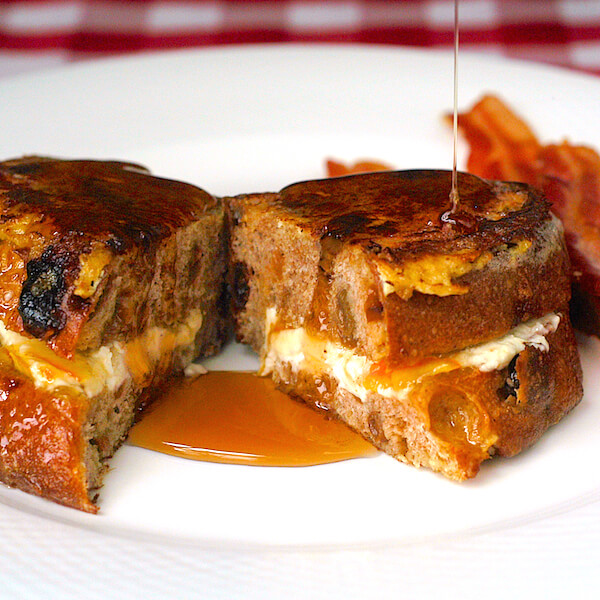 Orange and Cream Cheese Stuffed French Toast with Maple Cointreau Syrup