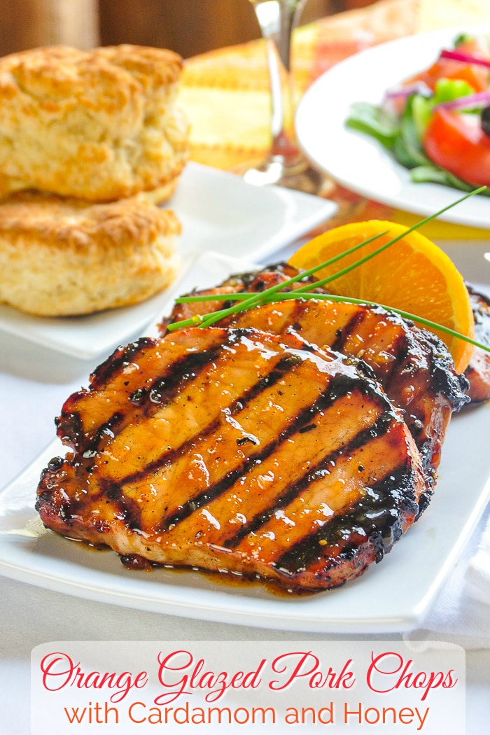 Orange Glazed Pork Chops with Cardamom and Honey photo with title text added for Pinterest