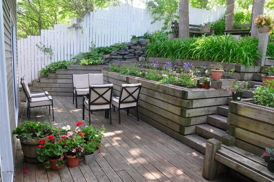 My backyard deck in summer.