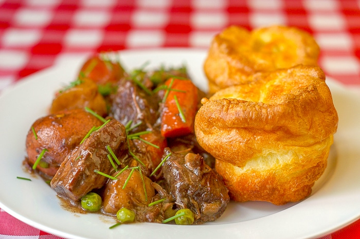 Burgundy Beef Stew photo of single serving with Yorkshire Pudding Popovers