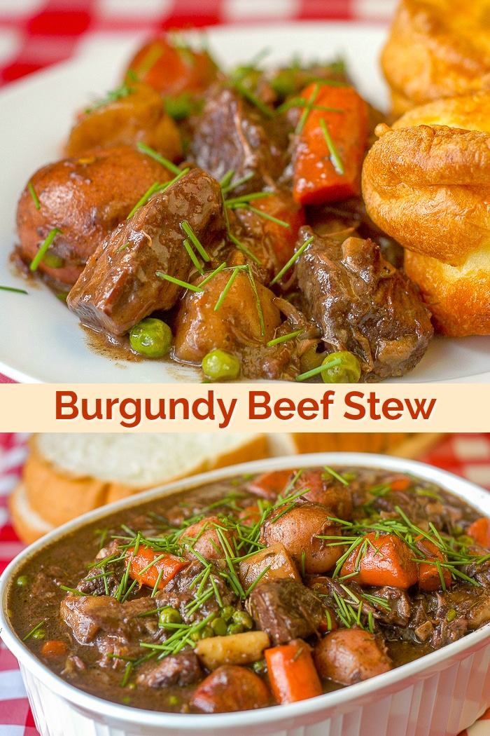 Burgundy Beef Stew photo with title text for Pinterest