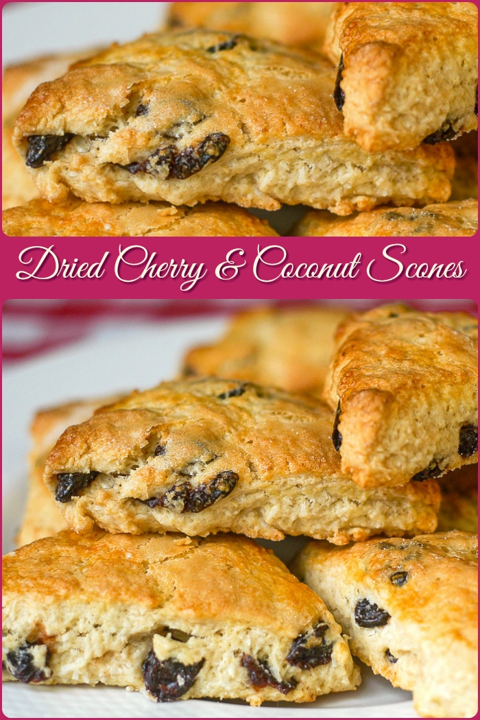 Cherry Coconut Scones photo collage with title text added for Pinterest
