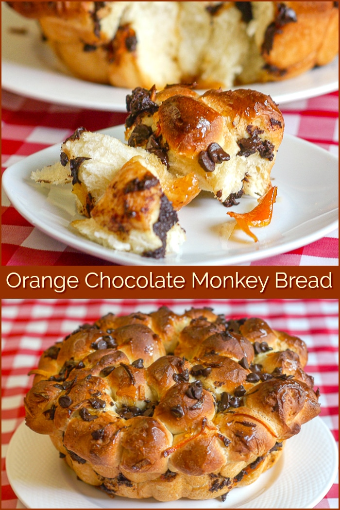 Orange Chocolate Monkey Bread photo collage with title text added for Pinterest