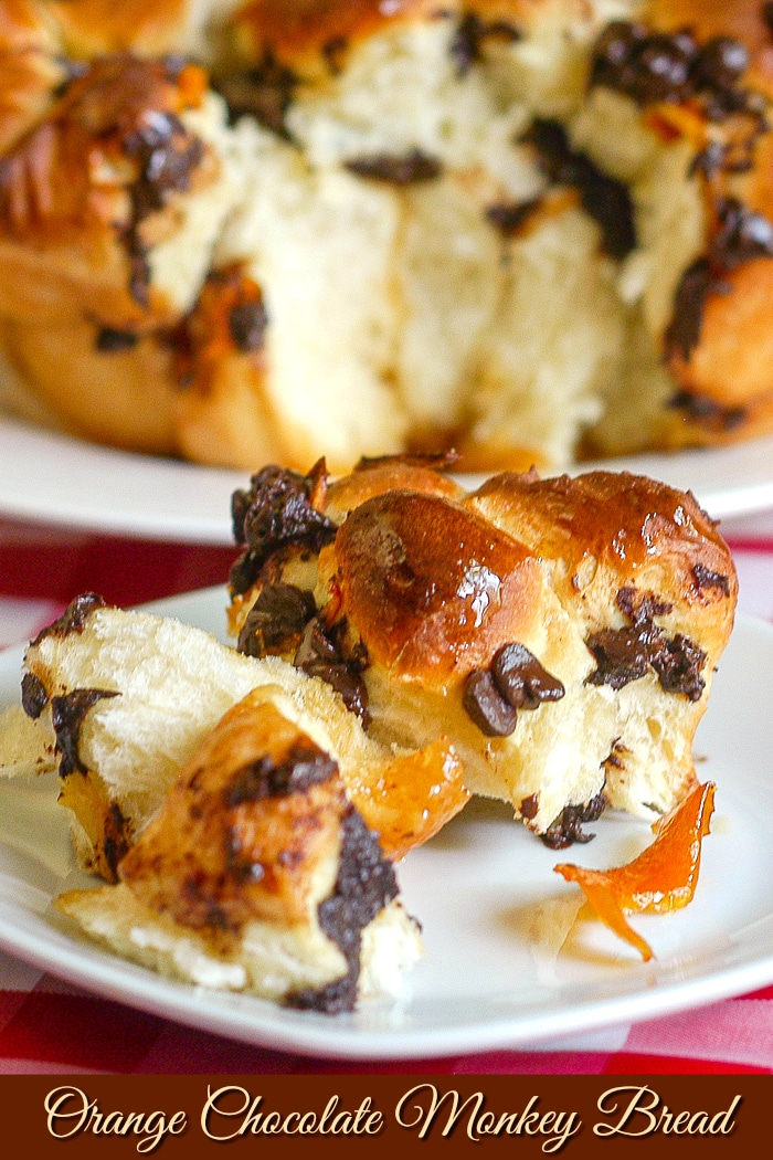 Orange Chocolate Monkey Bread photo of a single serving on a white plate with title text added for Pinterest
