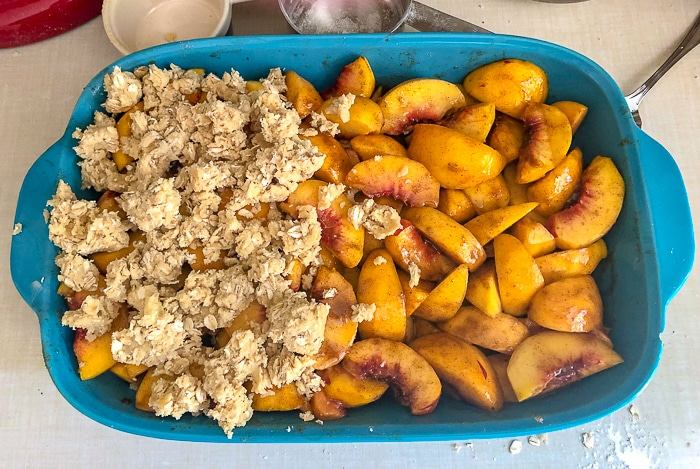 Peach Crumble almost ready for the oven
