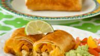 Lime Chicken Chimichangas with Lime Guacamole