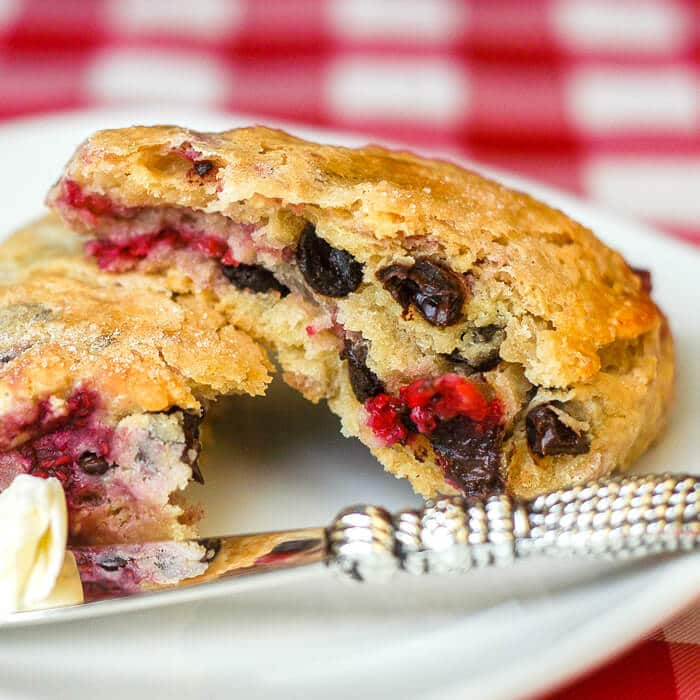 Chocolate Raspberry Scones, make any brunch special with these easy to make buttery scones.