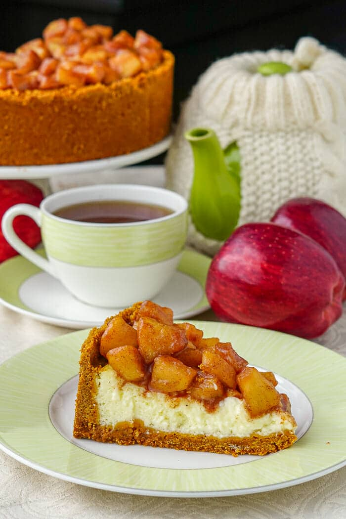 Cut slice of Sour Cream Apple Flan