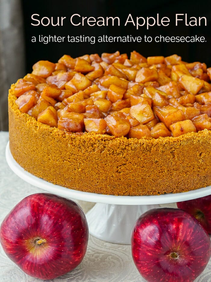 Sour Cream Apple Flan Photo with title text graphic