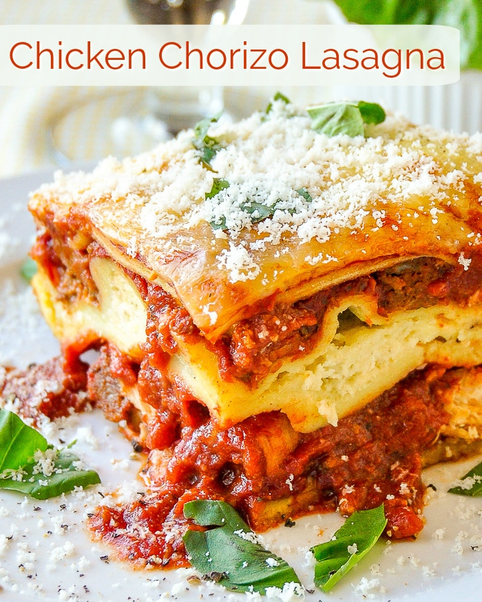 Chicken Chorizo Lasagna image with title text