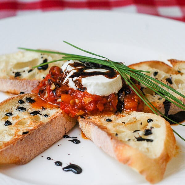 Roasted Tomato Bruschetta with Goat Cheese & Balsamic Reduction - Rock ...