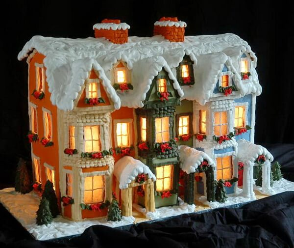 Lighted and Decorated Gingerbread House, St. John's, Newfoundland