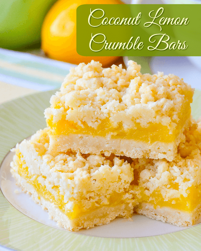 Coconut Lemon Crumble Bars, image with title text