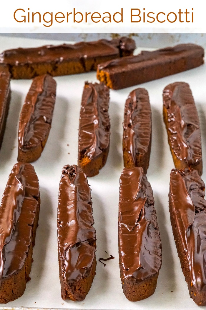 Gingerbread Biscotti image with title text for Pinterest