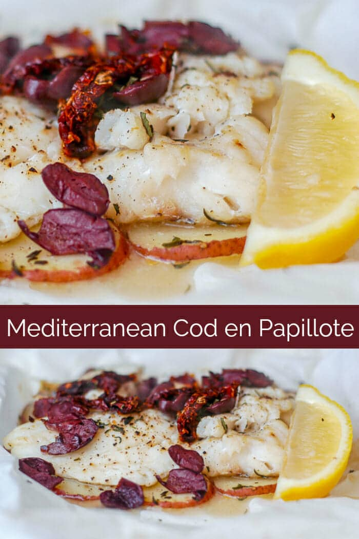 Newfoundland Cod with Olives and Sundried Tomatoes en Papillote with title text for pinterest
