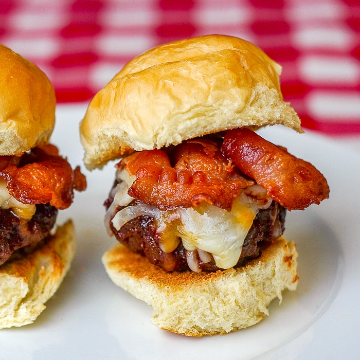 Barbecue Bacon Cheddar Sliders close up of one slider