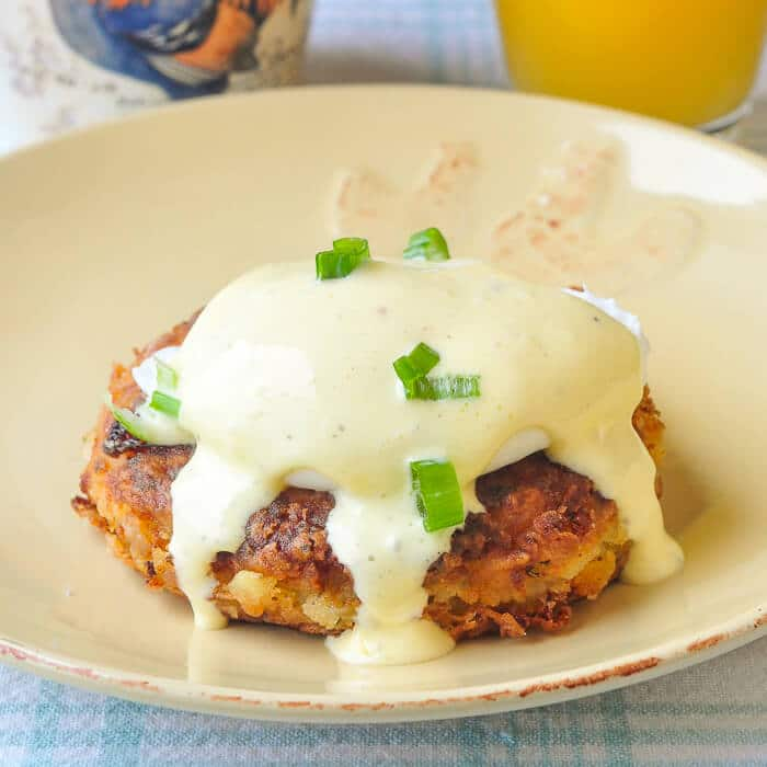 Newfoundland Fish Cakes Eggs Benedict. A traditional favourite food dressed up for an elegant brunch.