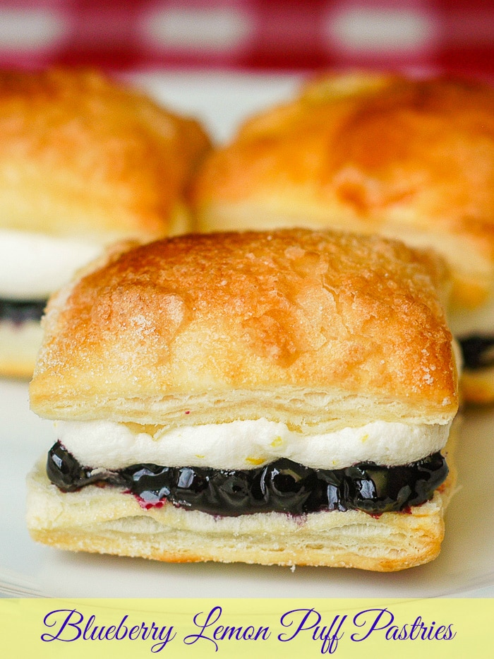 Blueberry Lemon Mini Puff Pastries photo with title text for Pinterest