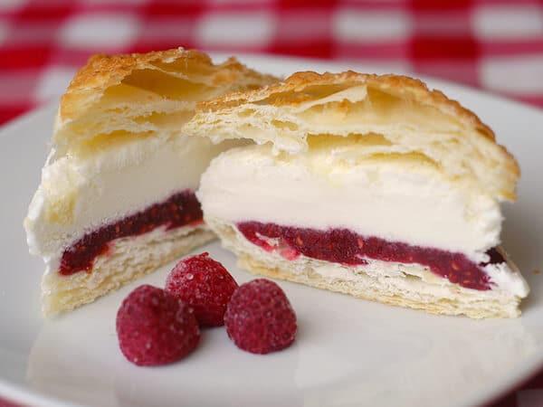 Raspberry Vanilla Puff Pastry Ice Cream Sandwiches