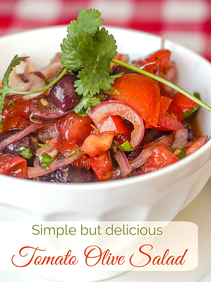 Tomato Olive Salad photo with title text for Pinterest