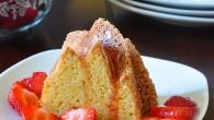 Orange Bundt Cake with Cointreau Marinated Strawberries