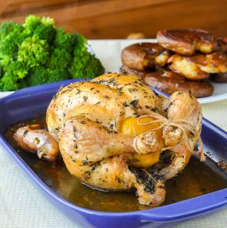 Lemon Thyme Roast Chicken – brined in lemon, spices & thyme.