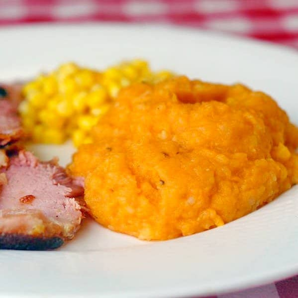 Sweet Potato Mash with Roasted Garlic and Honey