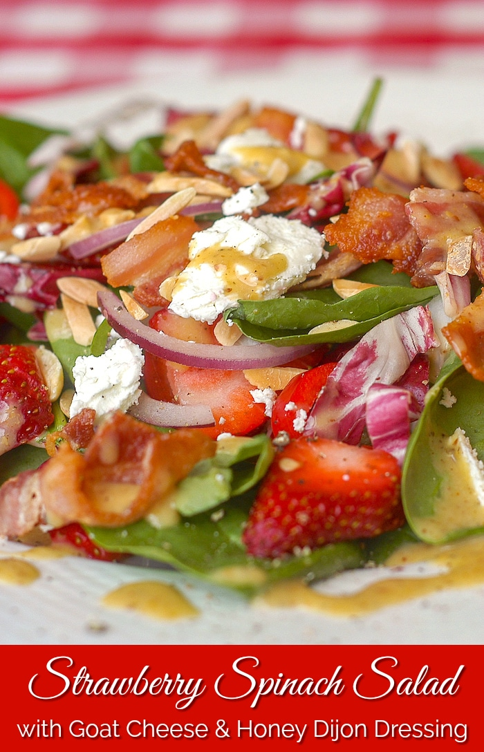 Strawberry Spinach Salad photo with title text added for Pinterest