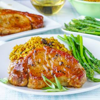 Honey Ginger Dijon Glazed Pork Chops close up photo.