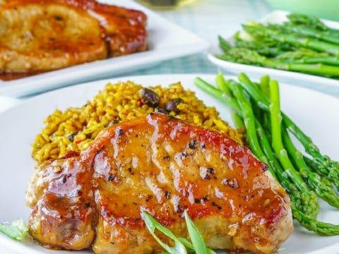 Honey Ginger Dijon Glazed Pork Chops