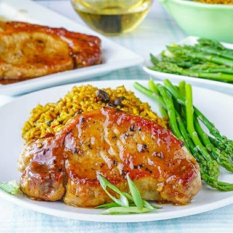 Honey Ginger Dijon Glazed Pork Chops Quick Easy Amp Few