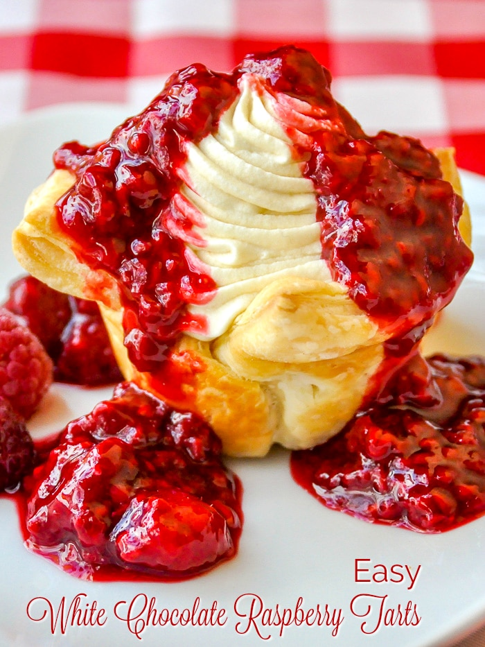 Easy Raspberry White Chocolate Tarts photo with title text for Pinterest