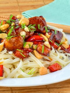 Kung Pao Chicken close up photo of pne serving for recipe featured image