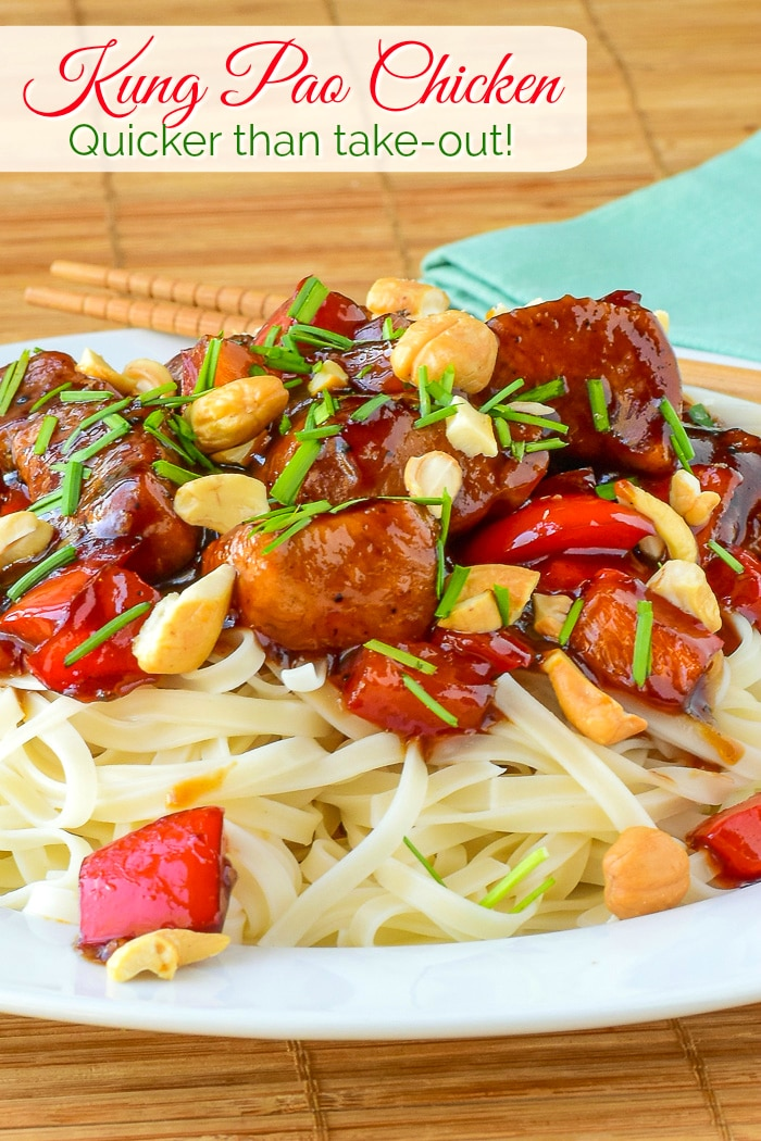 Kung Pao Chicken photo with title text added for Pinterest