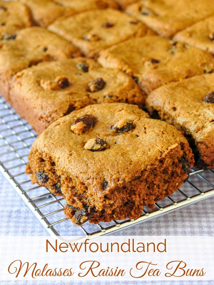 Newfoundland Molasses Raisin Tea Buns Image with title text.