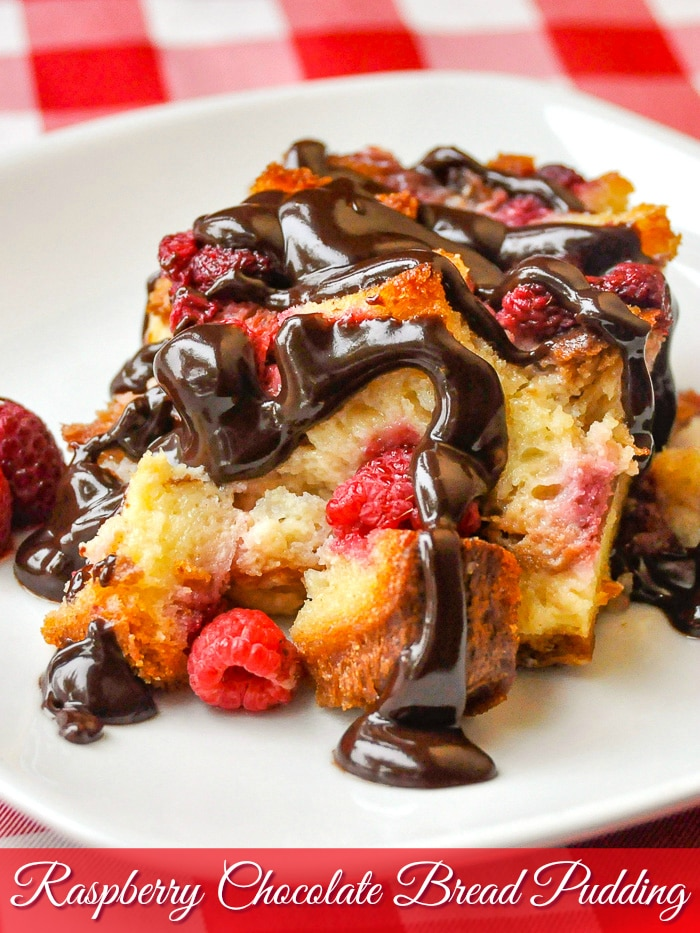 Raspberry Chocolate Bread Pudding photo with title text added for Pinterest