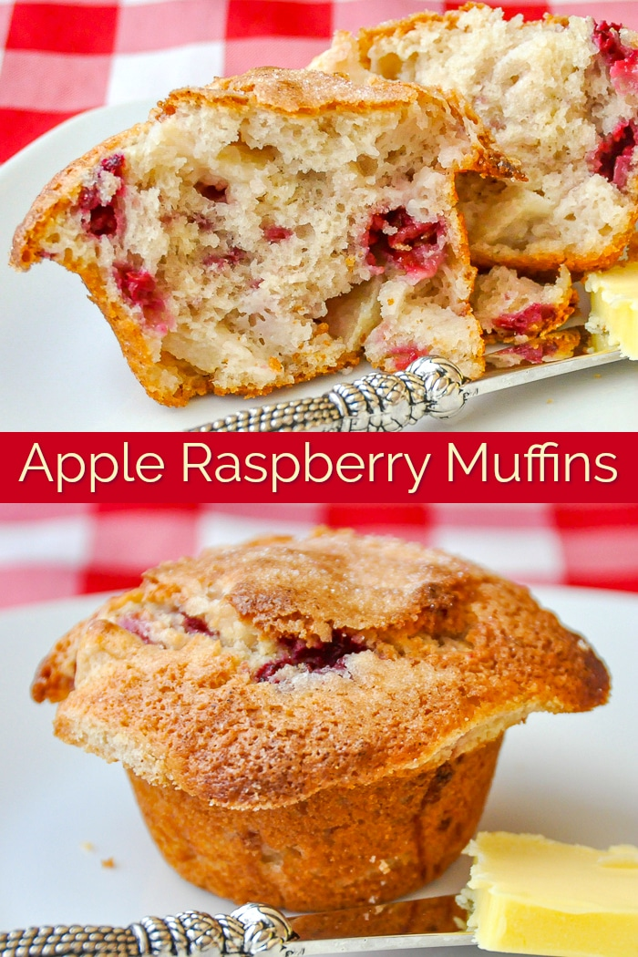 Apple Raspberry Muffins photo collage with title text for Pinterest
