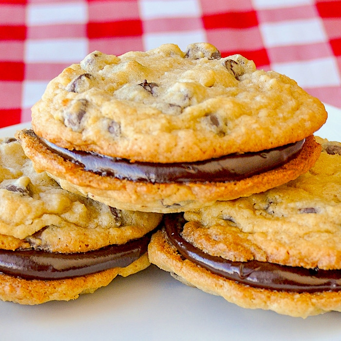 Chocolate Chip Coconut Sandwich Cookies close up photo for featured image