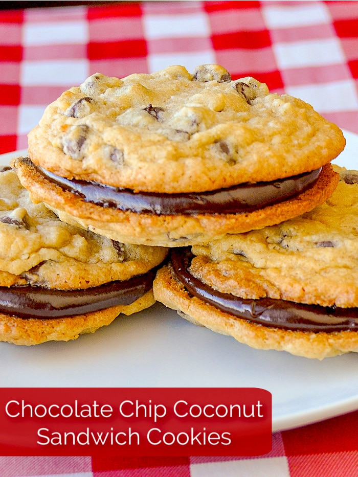 Chocolate Chip Coconut Sandwich Cookies photo with title text added for Pinterest