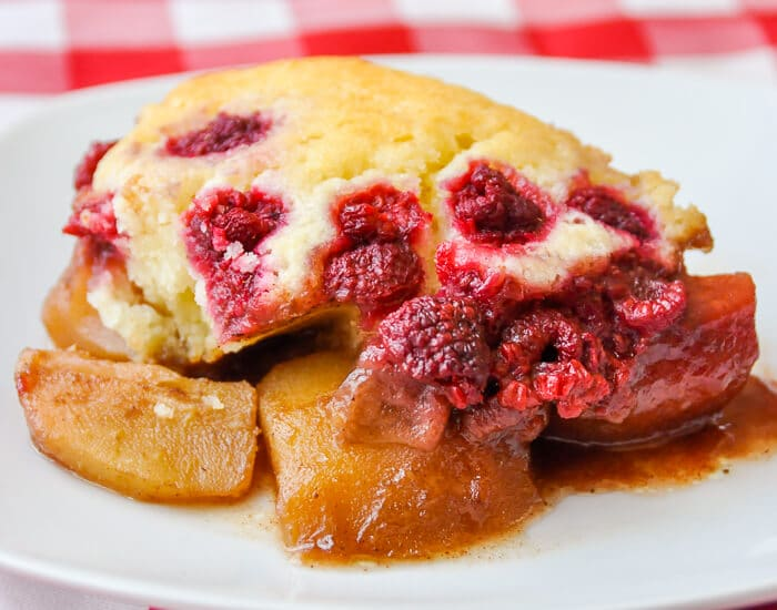 Spiced Pear Cobbler with Raspberries
